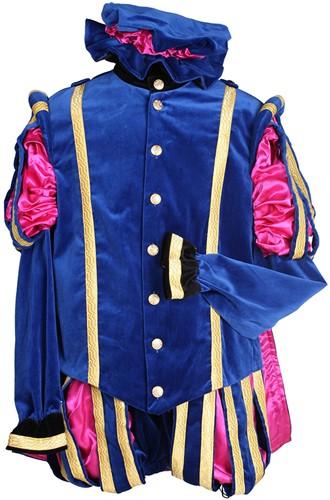 Pietenkostuum Madrid Fluweel met Cape Blauw-Roze