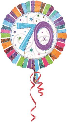 Folieballon 70th B-day Prismatic 45cm