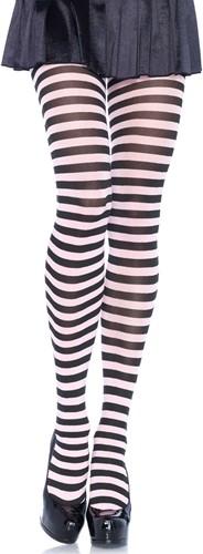 Gestreepte Panty Zwart-Wit Luxe