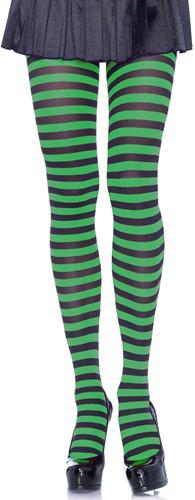 Gestreepte Panty Zwart-Groen Luxe