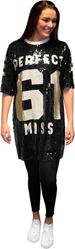 Pailletten Jurkje Miss Perfect 61 Zwart/Goud