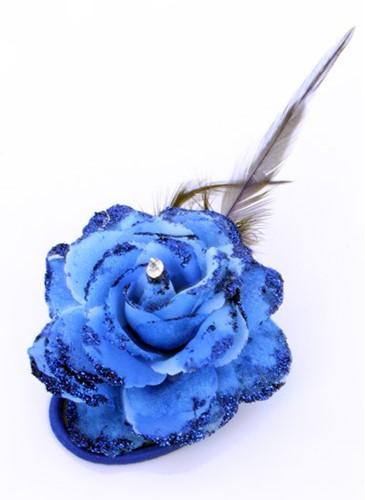 Bloem met Diamant op Speldje en Elastiek Blauw