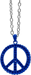 Peace Ketting Blauw + Strass