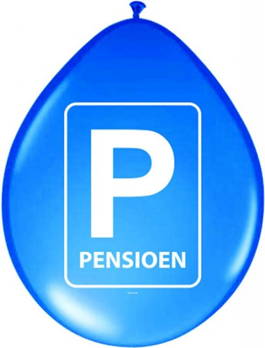 Ballonnen Pensioen Parkeerbord 8st.