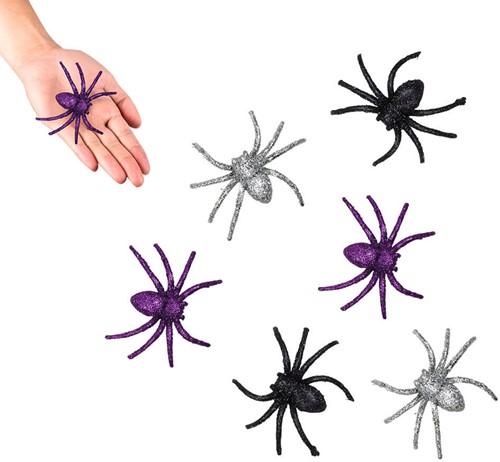 Spinnen Glitter 6st