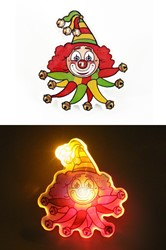 Broche Clown Rood-Geel-Groen met Licht (5x4cm)