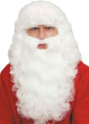 Baardstel Kerstman Luxe + wenkbrauwen Wit