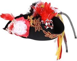 Carnavalshoed Driesteek Rood-Wit Luxe