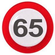 Bordjes 65 jaar Verkeersbord 8st