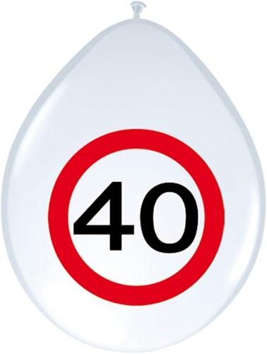 Ballonnen 40 jaar Verkeersbord 8st