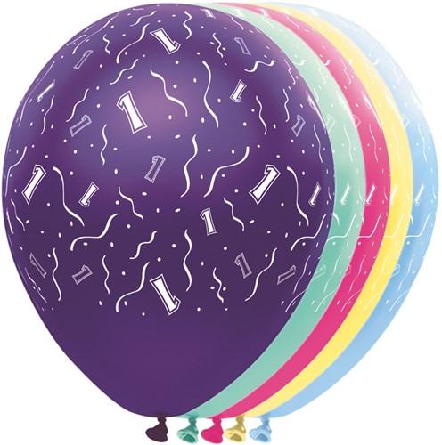 Ballonnen 1 jaar Metallic 5st