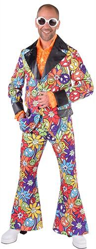 Heren Disco Kostuum Seventies Smiley Peace