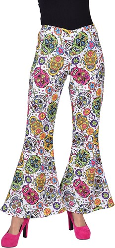 Dames Hippiebroek Mexican Skull - Day of the Dead