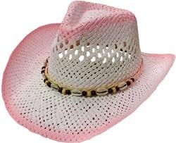 Cowboyhoed Ibiza Schelpen Wit-Roze