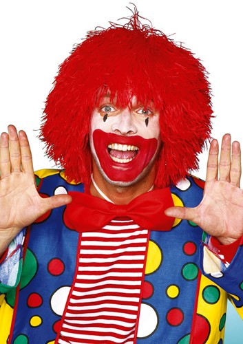 Clownspruik draadjes Rood