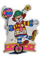 Wanddeco Clown op Eenwieler