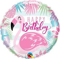 Folieballon Happy Birthday Flamingo (46cm)