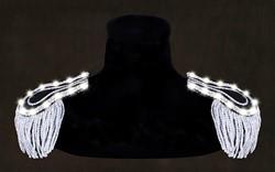 Epauletten Zwart-Zilver met Witte LED-verlichting