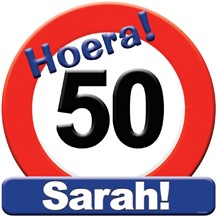 Huldeschild Hoera Sarah
