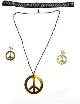 Peace Ketting + Oorbellen + Hoofdband