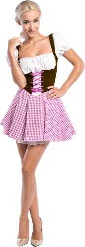 Sexy Dirndl Donkerbruin-Pink voor dames