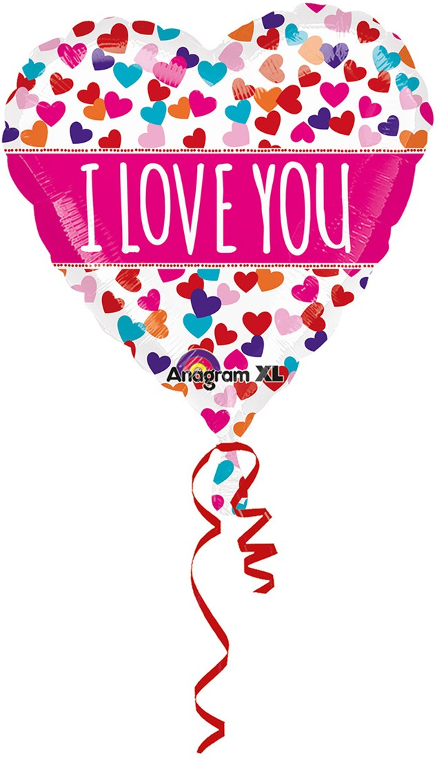 Folieballon Hart Met Hartjes I Love You 53cm