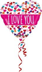 Folieballon Hart Met Hartjes I Love You (53cm)