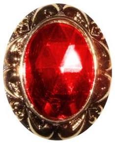 Ring Sinterklaas Rode Steen met Gouden Rand