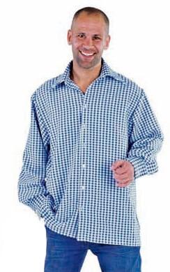 Trachtenhemd Blauw/Wit Luxe