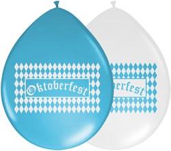 Ballonnen Oktoberfest Blauw-Wit 8st.