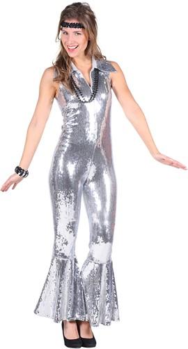 Pailletten Catsuit Luxe Zilver voor dames
