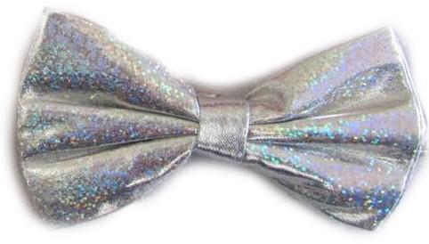 Strikje Satijn Luxe Zilver Hologram