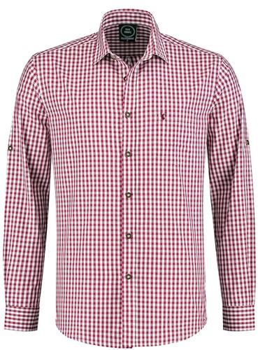 Tiroler Trachtenhemd Wijnrood/Wit (100% katoen)