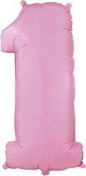 Folieballon Cijfer 1 Roze 100cm