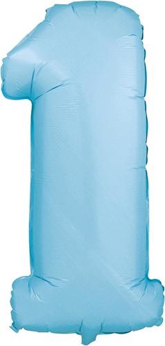 Folieballon Cijfer 1 Blauw 100cm