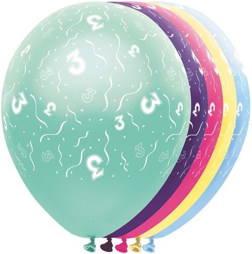 Ballonnen 3 jaar Metallic 5st