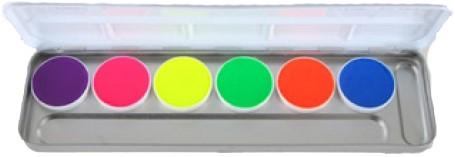 Aquacolor Kryolan UV-Dayglow Palet 6 kleuren