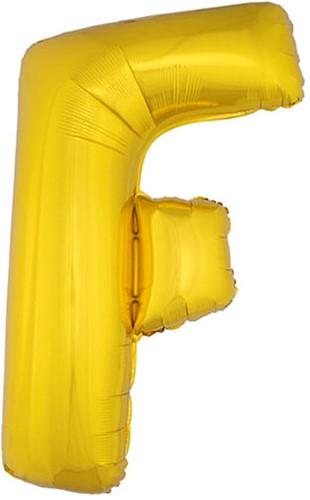 Folieballon Letter F Goud 100cm