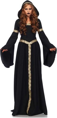 Gothic Heksenjurk Zwart-Goud met Capuchon Luxe
