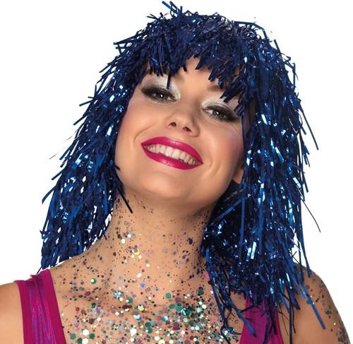 Pruik Lametta Blauw