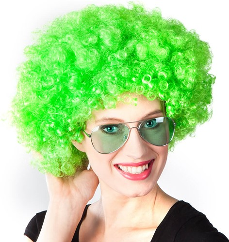 Pruik Oversized Afro Neon Groen