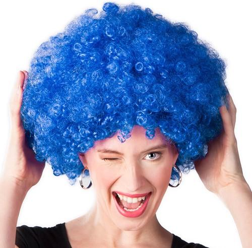 Pruik Oversized Afro blauw