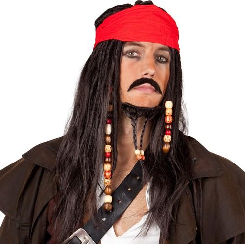Piraten Pruik Jack met Bandana, Snor en Baard