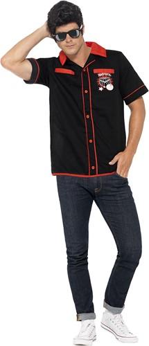 Jaren 50 Bowling Shirt Zwart-Rood