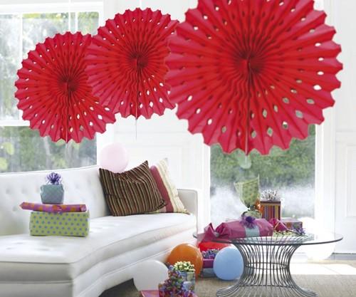 Decoratie Waaier Rood 45cm