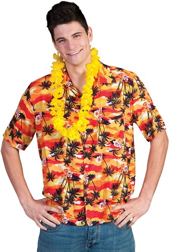 Hawaii Blouse Sunset Yellow Palmtrees
