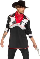 Western Cowboy Blouse Black Cow
