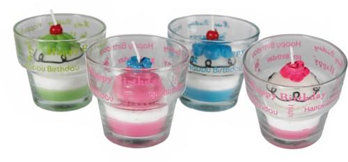 Happy Birthday Kaarsje Cupcake Pink