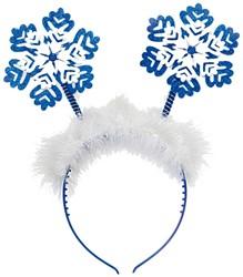Diadeem Sneeuwvlokken Blauw-Wit