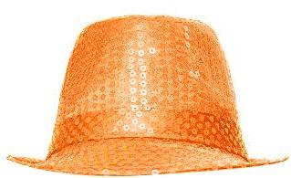Hoedje Justin Pailletten Neon Oranje